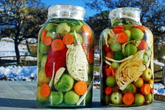 Romanian mix pickles in jar stock image