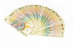 Romanian money. Isolated romanian money Royalty Free Stock Photography
