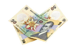 Romanian money 50 lei banknotes. Two 50 lei bills. Romanian money Royalty Free Stock Photography