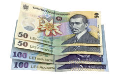 Romanian money banknotes. Two 100 lei and two 50 lei bills. Romanian money banknotes Stock Photos