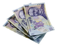 Romanian money with clipping path Royalty Free Stock Photo