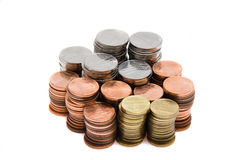 Romanian money in coins. Money in the form of change in piles Royalty Free Stock Photo