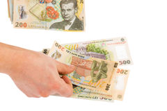 Romanian money counting. Man counting romanian money - ron Stock Photography