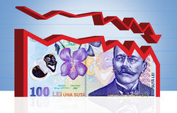 Romanian money finance chart. With clipping path. Dropping finance chart made from Romanian money banknote. Clipping path included Royalty Free Stock Photo