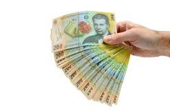 Romanian money hand Stock Image