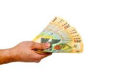 Romanian money hand Royalty Free Stock Image