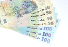 Romanian money lei. Romanian money banknotes lei isolated on white Stock Photography