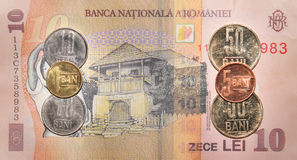 Romanian money:10  lei. Stock Photos