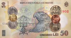 Romanian money:50  lei. Royalty Free Stock Photos