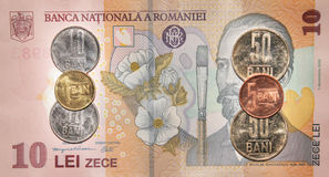 Romanian money:10 lei. Royalty Free Stock Photography