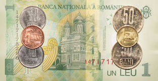 Romanian money:1 leu. Royalty Free Stock Photo