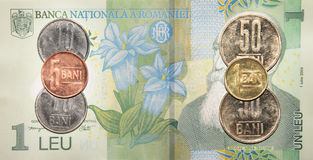 Romanian money:1 leu. Stock Image