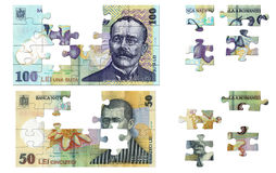 Romanian money puzzle. Romanian banknotes of 100 and 50 illustrated in puzzle pieces Stock Photos