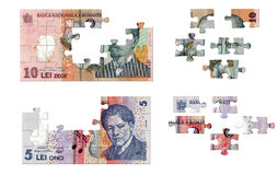 Romanian money puzzle. Romanian banknotes of 10 and 5 illustrated in puzzle pieces Royalty Free Stock Image