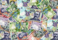 Romanian money puzzle. A lot of Romanian money lei from puzzle pieces Royalty Free Stock Images