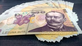 Romanian Money 100 ron. Front of a 100 romanian lei bill Stock Photography