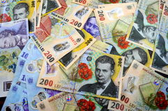 Romanian money. On the table Stock Photography