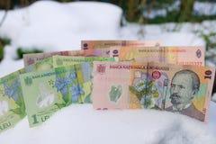 Romanian Money in Winter Stock Photos
