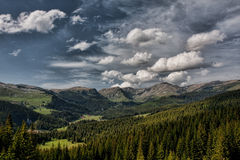 Romanian Mountains. Green mountains and cloudy sky Royalty Free Stock Images