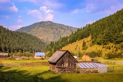 Romanian mountains landscape in rural area Stock Images