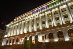Romanian National Bank (BNR) na noite Fotos de Stock Royalty Free