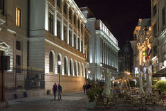 Romanian National Bank at night Stock Photo