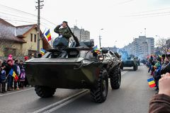 Romanian National Day military parade army vehicule rank Stock Image