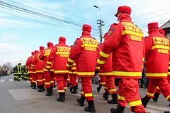 Romanian National Day military parade firefighters smurd Royalty Free Stock Photos