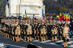 Romanian national day parade soldiers group saluting Royalty Free Stock Photography