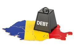 Romanian national debt or budget deficit, financial crisis. Romanian national debt or budget deficit, financial crisis concept, 3D Royalty Free Stock Photography