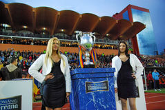 Romanian National Football Championship trophy. The Romanian national football championship trophy on display on the Romanian cup Timisoreana finals between CFR Stock Photo