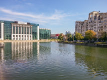 Romanian national library view from dambovita river Stock Photography