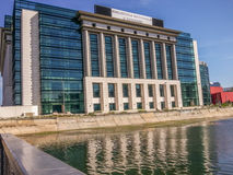 Romanian national library view from dambovita river Stock Photos