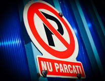 Romanian No Parking Sign. No parking sign in Romanian language Royalty Free Stock Photography