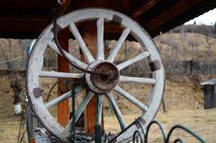 Romanian old traditional well wheel. Once upon a time my grandparents were drinking water only by spining this wheel and bringing to light a bucket with ice cold royalty free stock photography