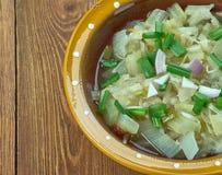 Romanian onion soup. Ciorba de de praz - Romanian onion soup Stock Images