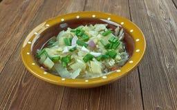 Romanian onion soup. Ciorba de de praz - Romanian onion soup Stock Photo