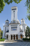 Romanian Orthodox Cathedral. Neo-Romanian Orthodox Cathedral, built between 1934 and 1937 and restored between 1980 and 1984, on the bank of the Tarnava River in Stock Image
