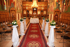 Romanian ortodox church decorated for wedding Stock Images