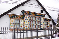 Romanian painted house. Painted house facades from Busteni, Romania Stock Photography