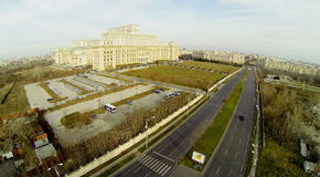 Romanian Parliament from above royalty free stock photography