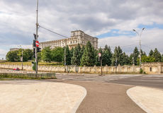Romanian parliament arhitecture facade from Constitutiei square, Bucharest Stock Photography