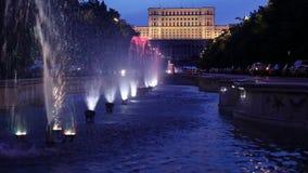 Romanian Parliament in Bucharest. Romania, called House of the People (Casa Poporului) night scene stock video footage