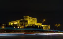 Romanian Parliament building during night Royalty Free Stock Images
