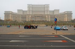 Romanian parliament house in a fog day Stock Photo