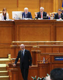 Romanian Parliament - Motion of no confidence against the Govern. Bucharest, Romania - February 08, 2017: Former Romanian President, Traian Basescu, Senator of royalty free stock photos