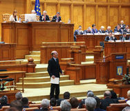 Romanian Parliament - Motion of no confidence against the Govern. Bucharest, Romania - February 08, 2017: Former Romanian President, Traian Basescu, Senator of stock photo