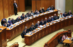 Romanian Parliament - Motion of no confidence against the Govern. Bucharest, Romania - February 08, 2017: Members of Romanian Government, lead by Sorin Mihai stock photography