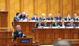 Romanian Parliament - Motion of no confidence against the Govern. Bucharest, Romania - February 08, 2017: Romanian Prime Minister, Sorin Mihai Grindeanu C royalty free stock photo