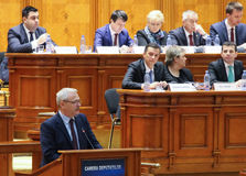 Romanian Parliament - Motion of no confidence against the Govern. Bucharest, Romania - February 08, 2017: Romanian Prime Minister, Sorin Mihai Grindeanu C royalty free stock photos